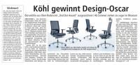 "KÖHL gewinnt Design-Oscar mit ""ANTEO ALU"""